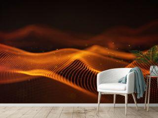 Orange cyber relief 3D rendering with DOF