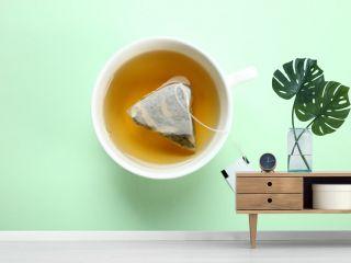 Mint tea bag in a cup