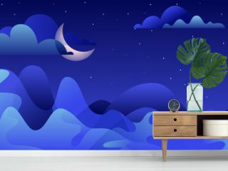 Abstract night landscape, vector hand drawn illustration. Blue mountains and moon on sky. Nature horizontal background with copy space.