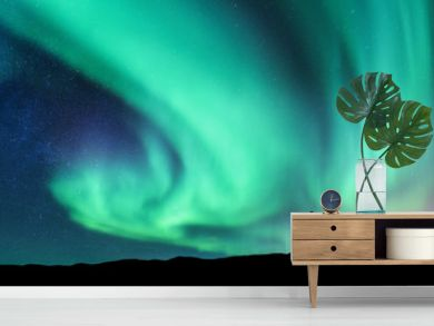 Aurora borealis and silhouette of standing man. Lofoten islands, Norway. Aurora and happy man. Sky with stars and green polar lights. Night landscape with aurora and people. Concept. Nature background