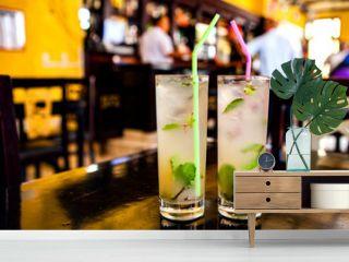 Mojito cocktail in a bar in Cuba / Havana
