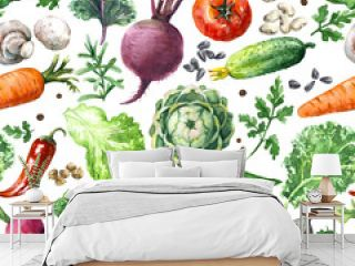 Watercolor Vegetables Seamless Pattern