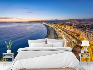 Promenade and Coast of Azure at dusk in Nice, France