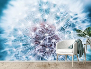 beautiful natural background of airy light dandelion flower with white light seeds