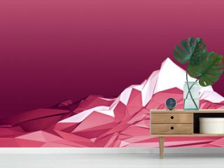 Stylized polygonal image of a mountainous area with a glacier on top of a mountain. 3d illustration