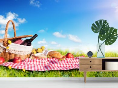Picnic - Basket With Bread And Wine On Meadow