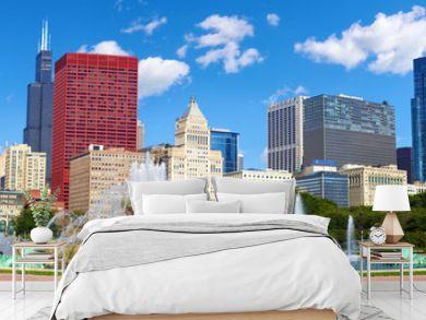 Chicago skyline panorama with Buckingham Fountain, United States
