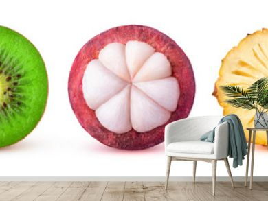 Isolated tropical fruits slices. Fresh exotic fruits cut in half (maracuya, kiwi, mangosteen, pineapple, dragonfruit) in a row isolated on white background with clipping path