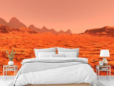 3D Rendering Planet Mars Lanscape