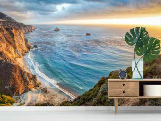 Big Sur coastline panorama at sunset, California, USA