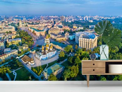 Aerial view of St. Michael Golden-Domed Monastery, Ministry of Foreign Affairs and Saint Sophia Cathedral in Kiev, Ukraine