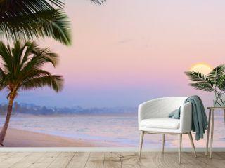 Art Summer Drims  Beautiful sunset over the tropical beach  summer dream vacation