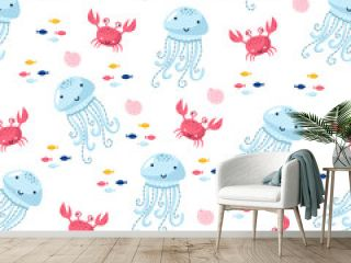 pattern with jellyfish and fish