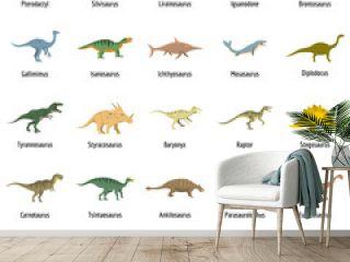 Dinosaur types signed name icons set. Flat illustration of 25 dinosaur types signed name vector icons isolated on white