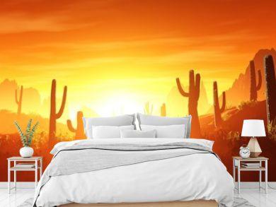 desert at sunset, rocky desert arizona with cacti under the setting sun,  3D rendering