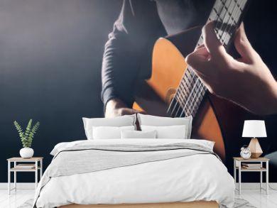 Acoustic guitar player. Classical guitarist hands