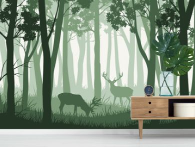 Vector green forest landscape with trees and two deers