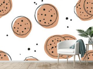 Simple cute cookie flat vector seamless pattern. Hand drawn vector seamless pattern in doodle style. Continuous line drawing.