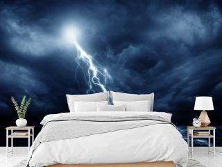 Lightning storm over Black sea near