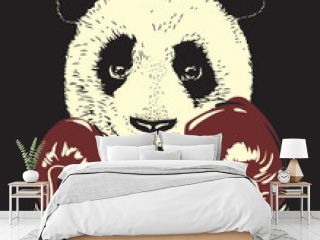 Panda in boxing gloves, hand drawn bear