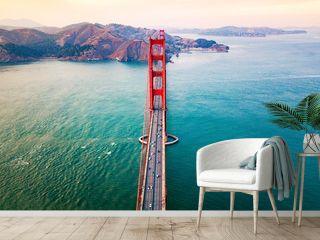Golden Gate bridge in San Francisco at sunset aerial