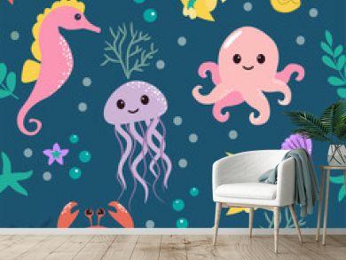 Seamless pattern with cartoon sea life animals. Underwater background. Vector illustration.