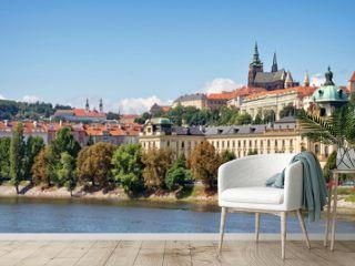 Panorama of Prague castle and the Vltava river, Czech Republic