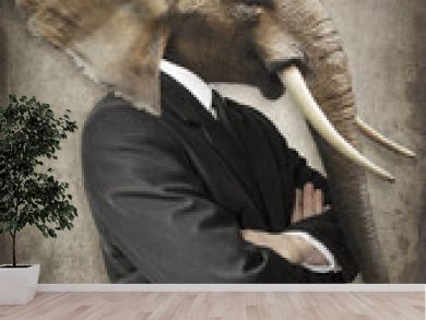 Elephant in a suit. Man with the head of an elephant. Concept graphic in vintage style.