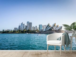 Beautiful sunny coast view to the Skyline and famous Opera House on bright warm day, cruising by ferry from harbour quay bridge to Manly City, Opera House and Quay,Sydney, NSW/ Australia – 10 12 2017
