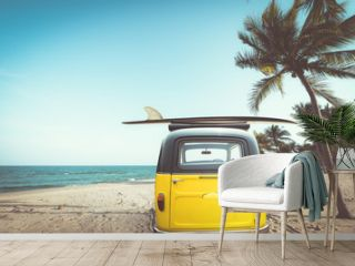 Rear of vintage car parked on the tropical beach (seaside) with a surfboard on the roof - Leisure trip in the summer. retro color effect