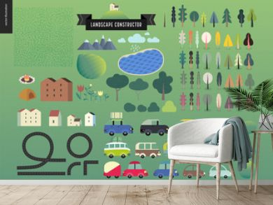 Summer landscape constructor set - kit of city and park landscape elements - houses, trees, cars, roads. Travel to tourist camp.