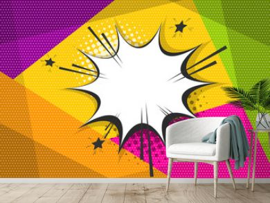 Clear empty boom comic text speech bubble Pop Art Style. Empty wow balloon. Message cloud colored background sticker. Vector illustration conversation, dialog. Colored space back.
