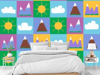 seamless pattern-mountains in squares