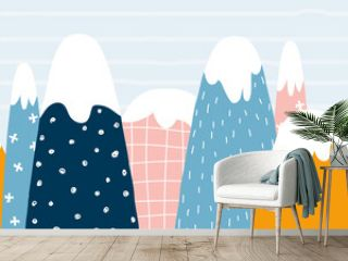 Cute mountains seamless pattern. Childish graphic. Vector hand drawn illustration.