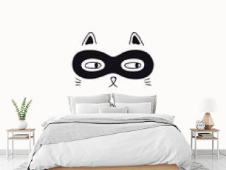 Hand drawn black and white vector illustration of a cute funny cat face in a super hero mask, with quote So meowsome. Isolated objects. Line drawing. Design concept for poster, t-shirt print.