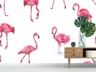Seamless flamingos pattern, watercolor