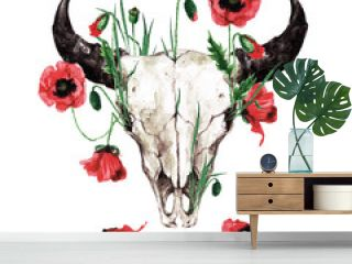 Animal Skull with Flowers. Watercolor Illustration.