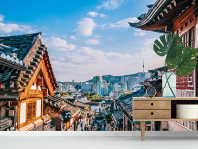 Bukchon Hanok Village, old traditional Korean house with tourist