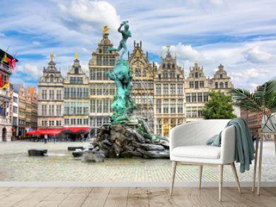 Brabo fountain on market square, Antwerp, Belgium