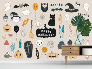 Big set of kawaii funny Halloween elements, with text, pumpkins, ghosts, monsters, zombie, death, candy, balloons. Isolated objects. Hand drawn vector illustration. Line drawing Design concept print