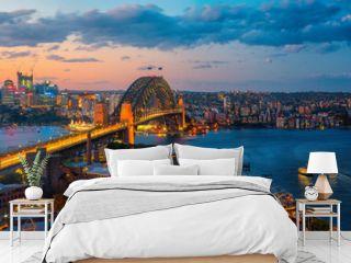 Panorama of Sydney harbour and bridge in Sydney city