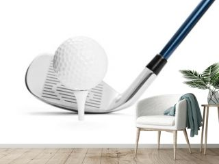 Golf ball on tee in front of golf stick on white background, included clipping path