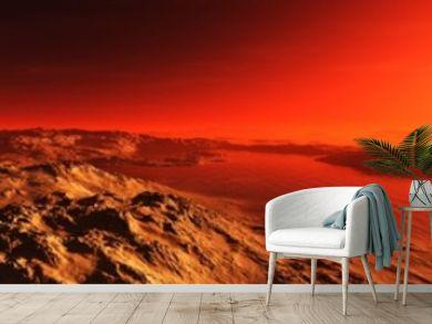 A beautiful Martian landscape at sunrise. Panorama of Mars.  3D rendering