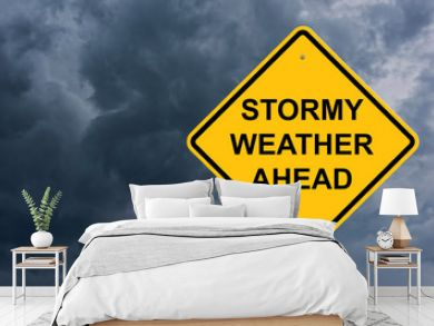 Stormy Weather Ahead Caution Sign