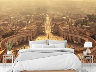 Aerial view of St Peter's square in Vatican, Rome Italy