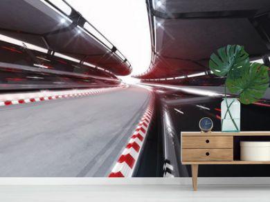illuminated race track road with speed motin blur