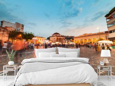 Long Exposure, wide shot at night, Monastiraki square Athens Greece