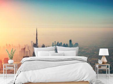 Aerial view of Dubai city in sunset light