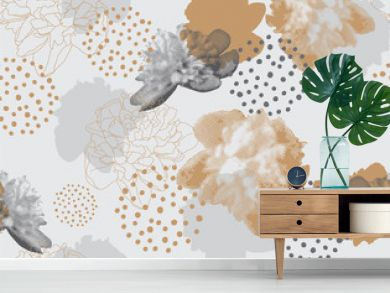 Modern floral pattern in a halftone style. Seamless vector ornament with flowers and geometric shapes. Peonies on a gray background