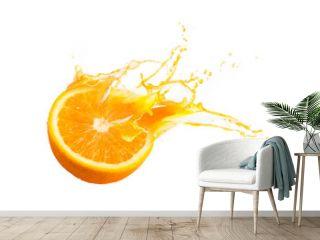 Collection of Fresh half of ripe orange fruit floation with orange juice splash isolated on white background